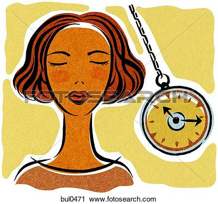 Clipart of A woman being hypnotized with a pocket watch bul0471.