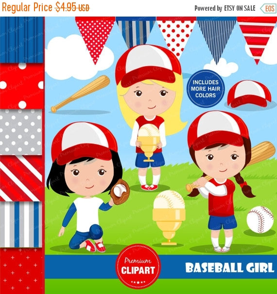 80% OFF SALE Baseball clipart, Baseball girl, Baseball digital.