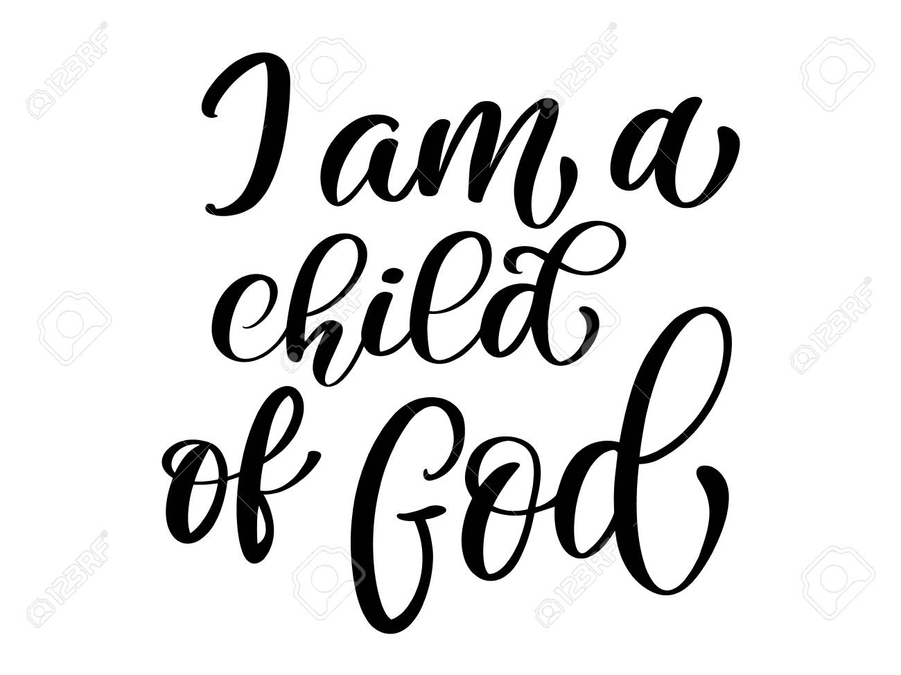 I am a child of God christian quote in Bible text, hand lettering...
