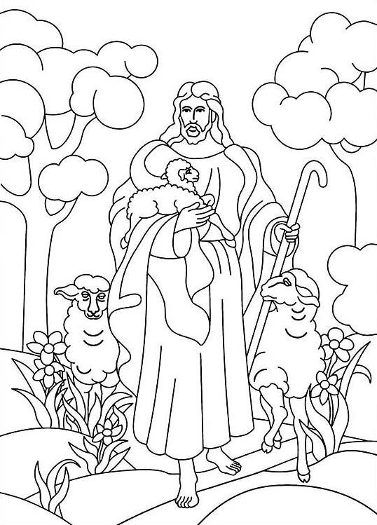 Jesus is the Good Shepherd Bible coloring page.