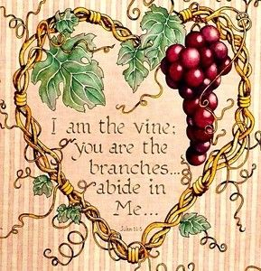 I am the vine, you are the branches, abide in Me. John 15:5.