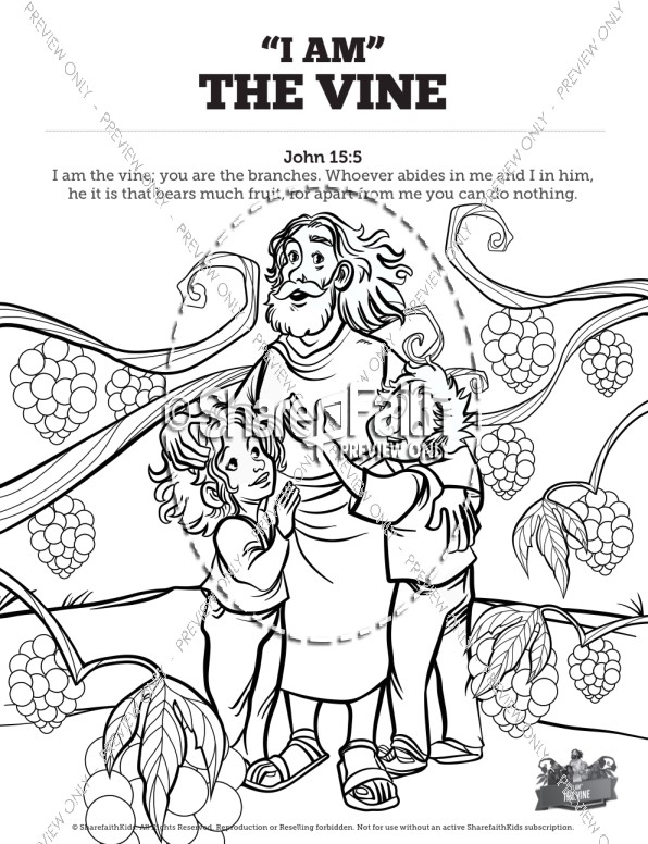 John 15 I Am The Vine Sunday School Coloring Pages.