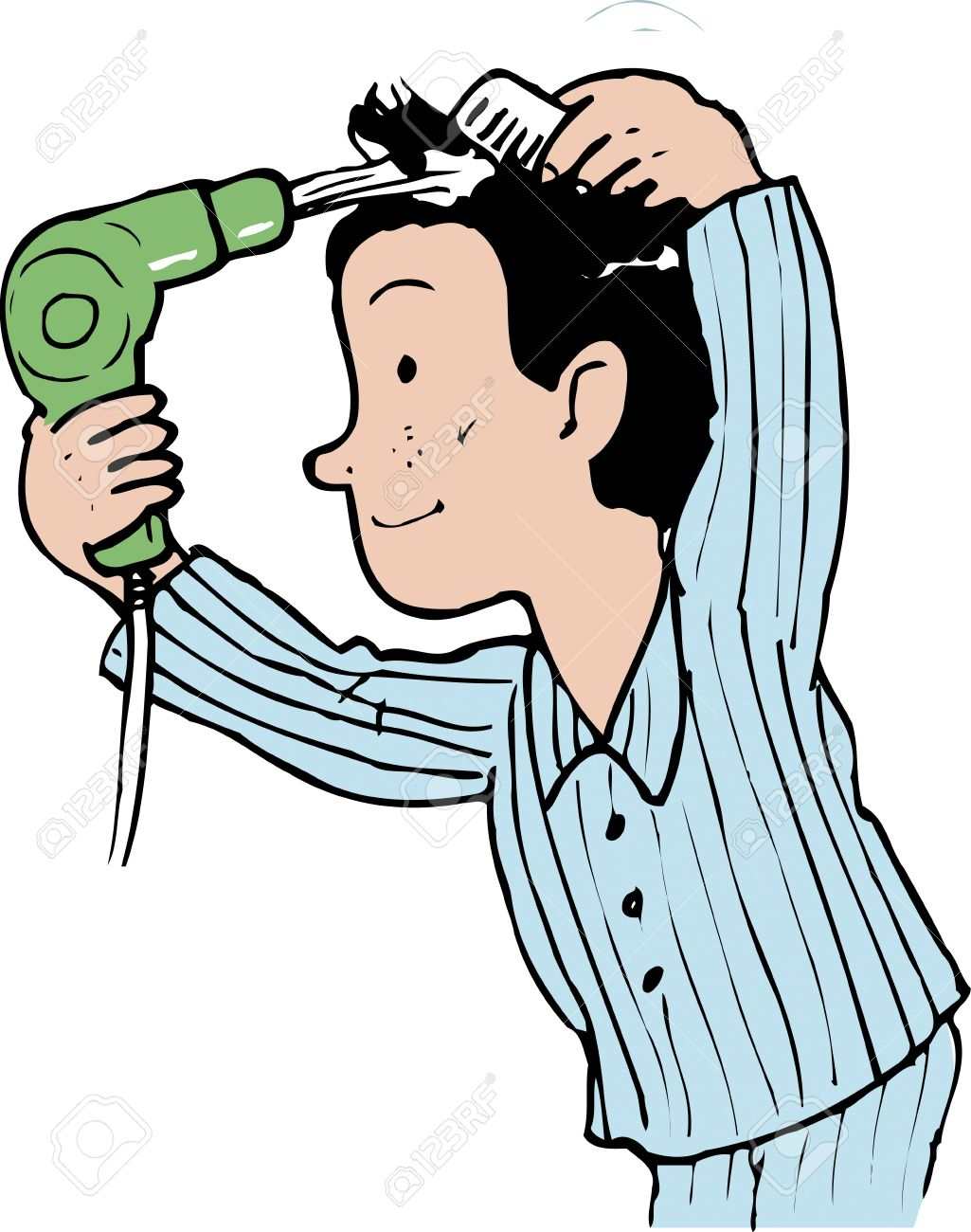 I Brush My Hair Clipart.