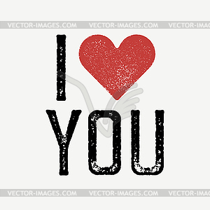 I love you text with red heart. T.