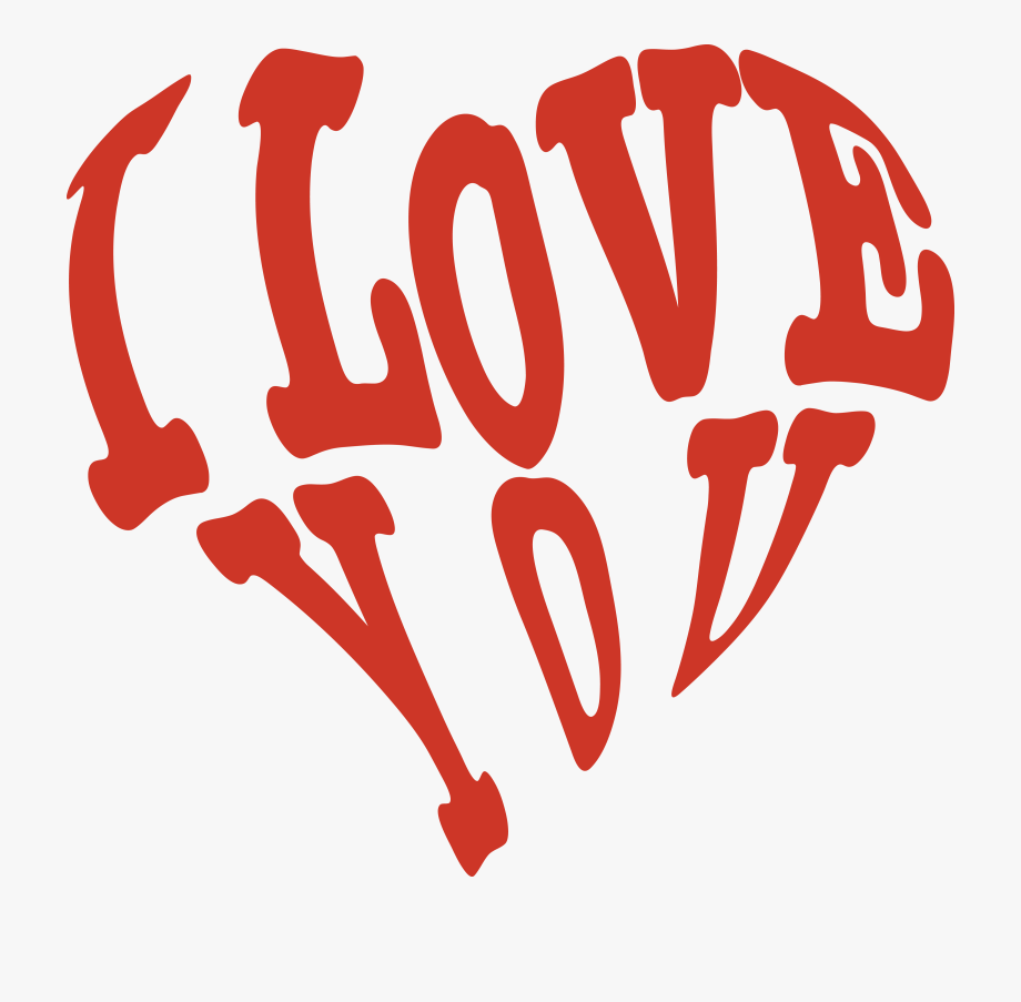 Free Clipart Of A Red Heart Formed Of I Love You.