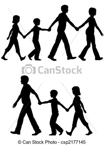 Clipart Vector of Casual family mom dad lead kids and dog on walk.
