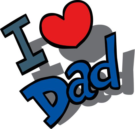 Clipart Image of an I Love Dad Message for Father's Day.