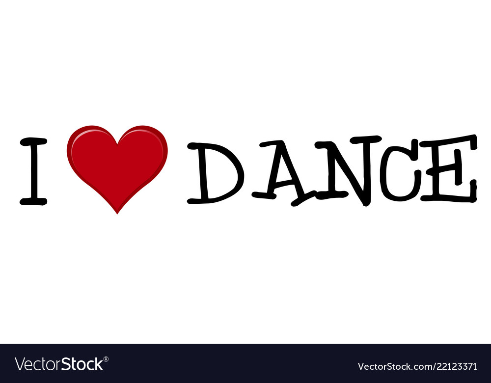 I love dance icon on white background.