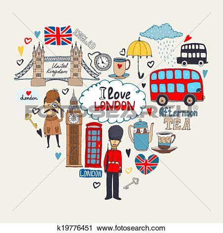 Clipart of I Love London card design k19776451.