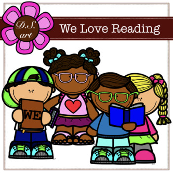 We Love Reading Digital Clipart (color and black&white).