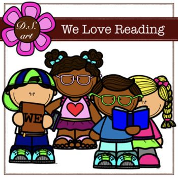 We Love Reading Digital Clipart (color and black&white.