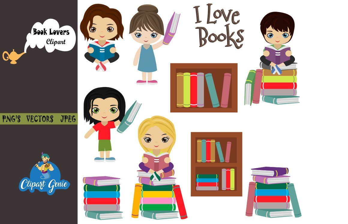 Library clipart, book lovers clipart, book clipart, reading.