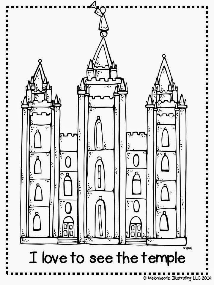 Melonheadz LDS illustrating: I Love to see the temple coloring page.