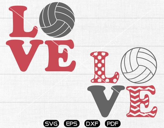 LOVE volleyball SVG, volleyball Clipart, cricut, cameo, silhouette cut  files commercial & personal use.