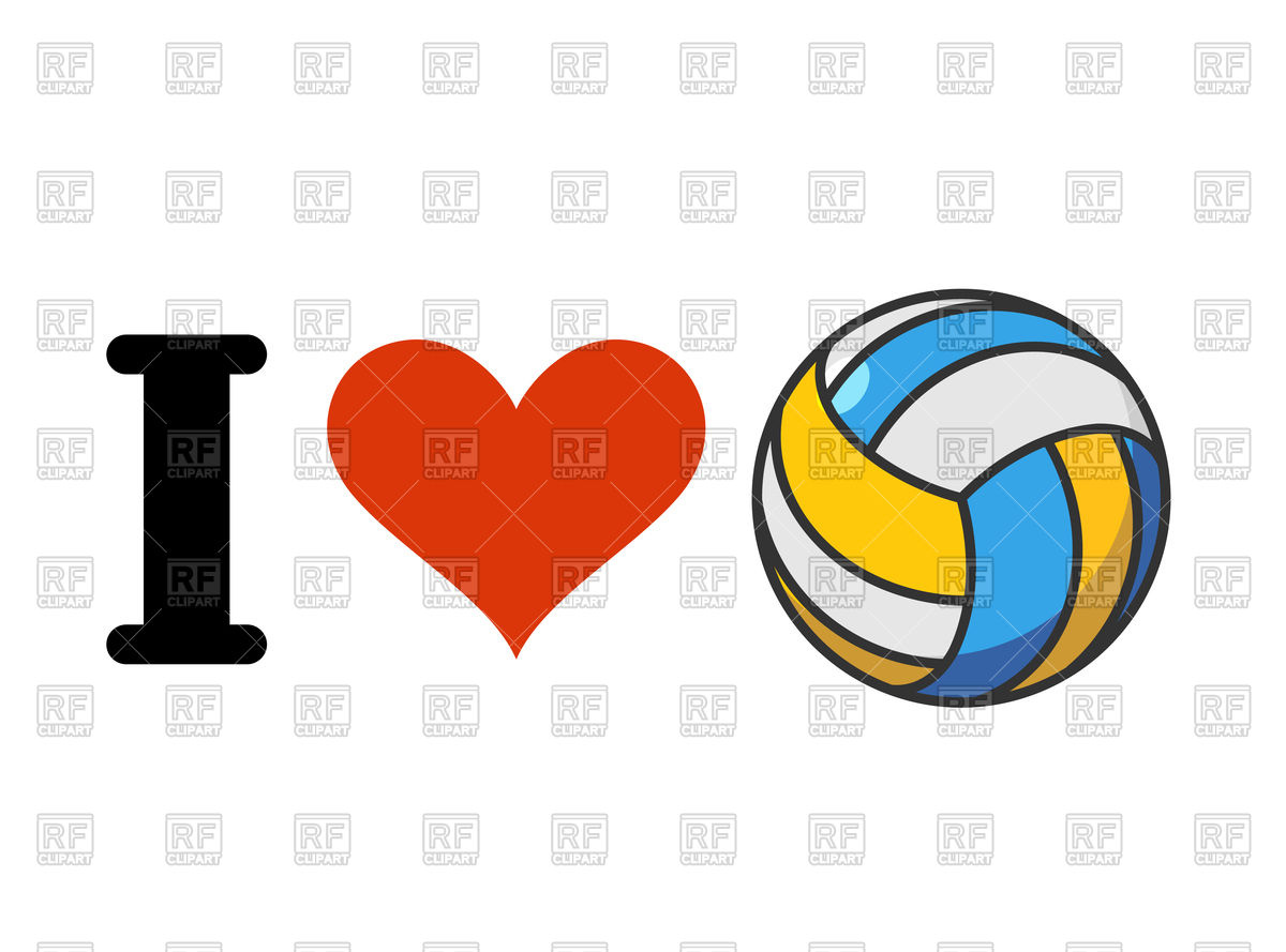 I love volleyball Stock Vector Image.