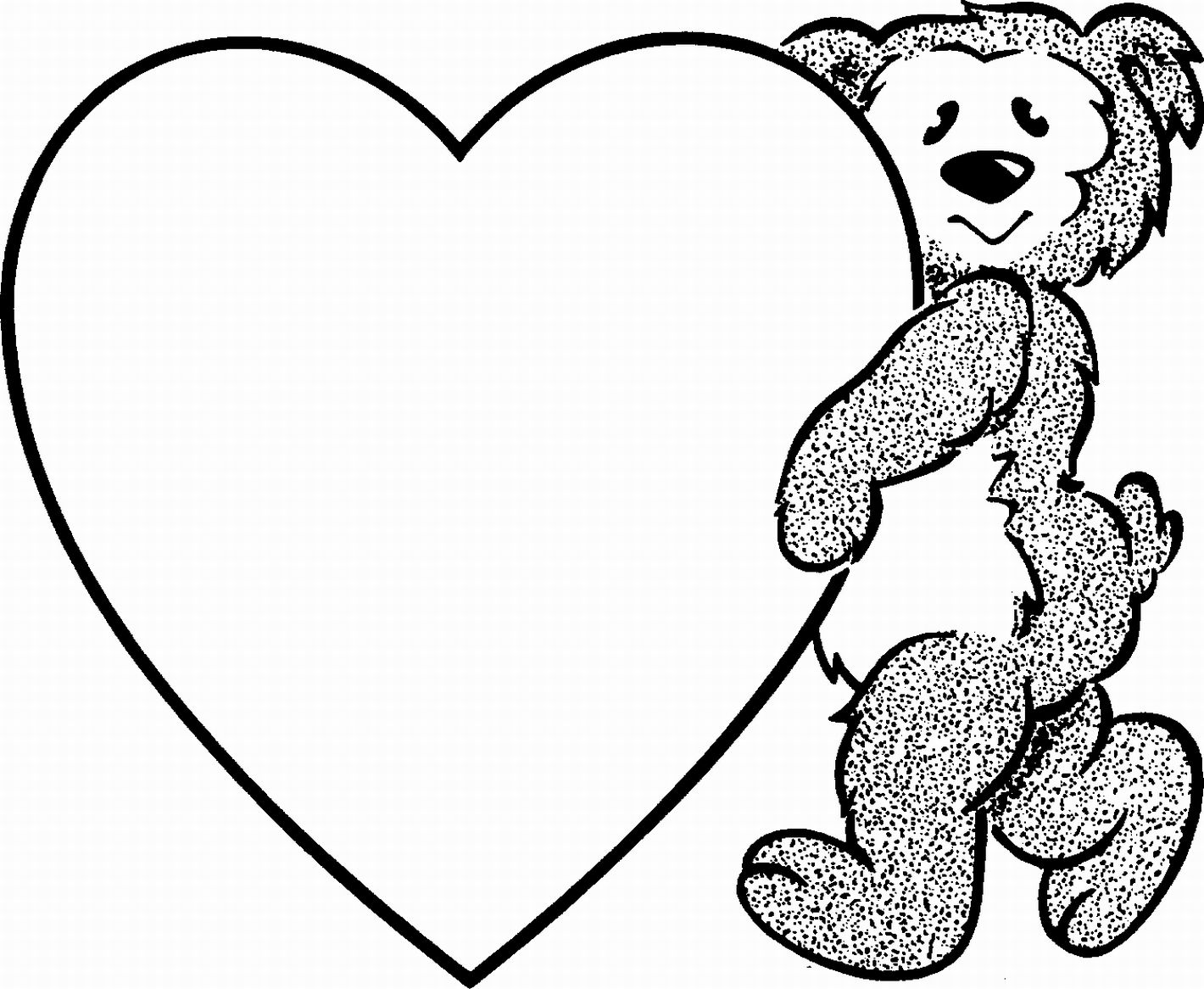 i love you teddy bear clipart - Heart Coloring Pages For Teenagers