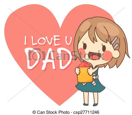 cute girl present I love you dad card vector illustration..