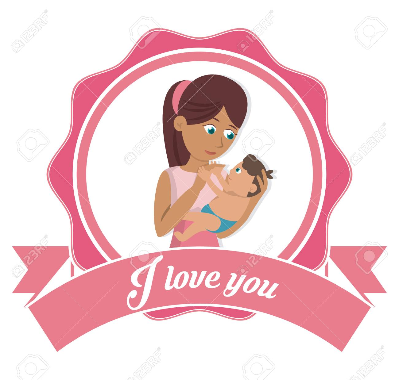I love you mom card mother and baby together » Clipart Station.