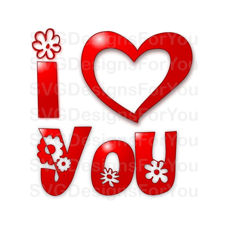 I Heart (Love) You SVG Design.