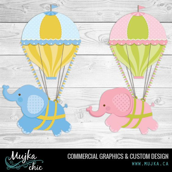 Hot air balloons and vintage elephant graphics. I offer exclusive.