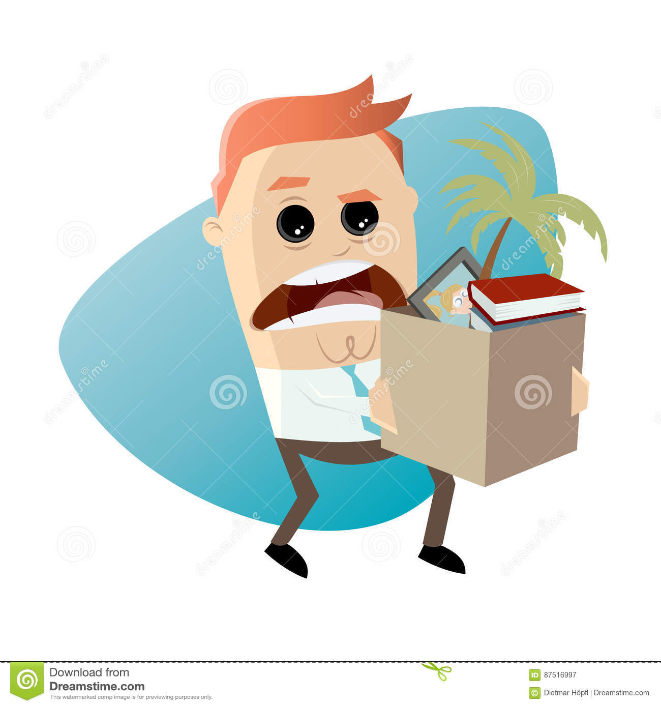 Angry Employee Quit His Job Stock Vector.