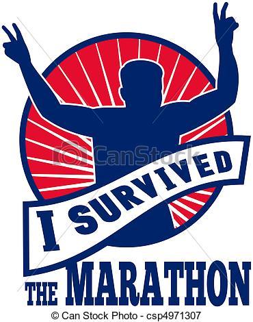 Stock Illustrations of Marathon runner i survived.