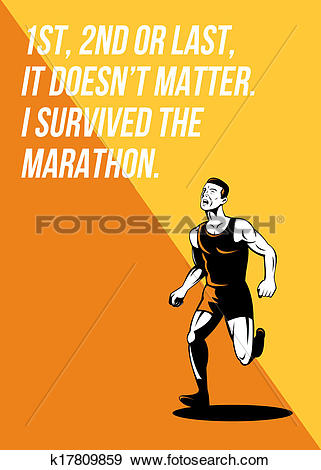 Stock Illustration of I Survived Marathon Runner Retro Poster.