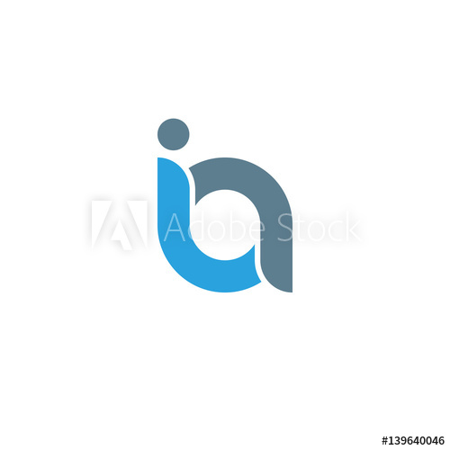 Initial letter ia modern linked circle round lowercase logo.
