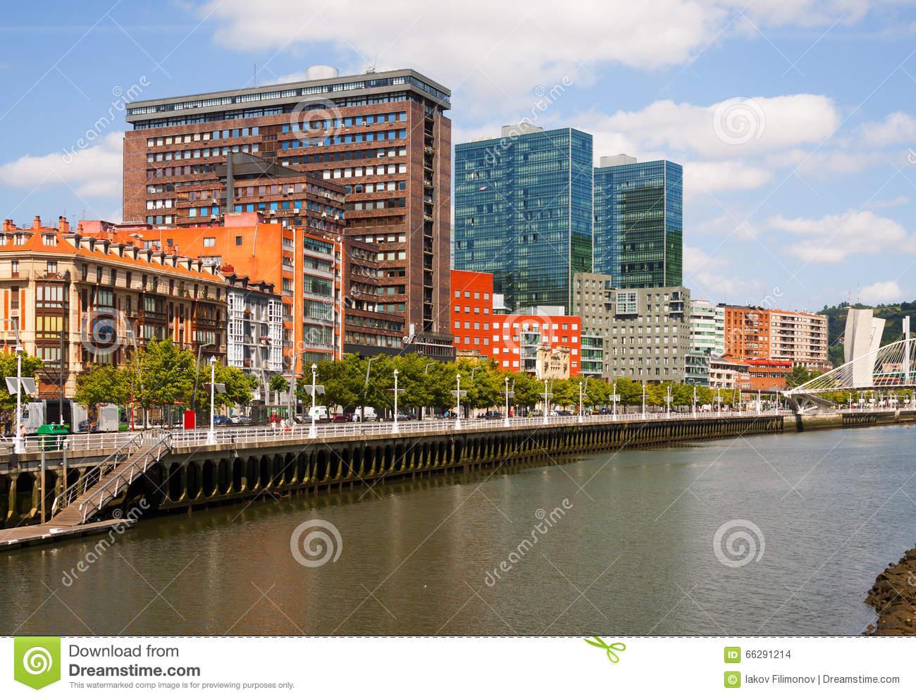 Ibaizabal River And Residential Houses. Bilbao Stock Photo.