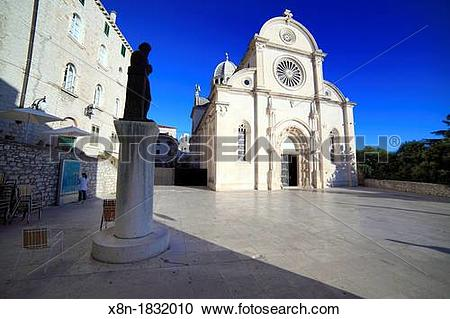Stock Photography of Square near cathedral of St James, Sibenik.
