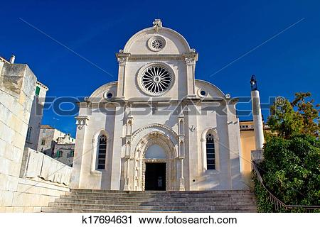 Stock Photography of Cathedral of St James in Sibenik facade.