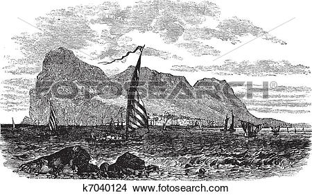 Clipart of Gibraltar in Iberian Peninsula Europe vintage engraving.