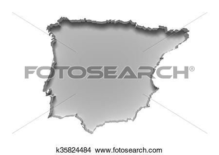 Drawings of Iberian Peninsula map k35824484.