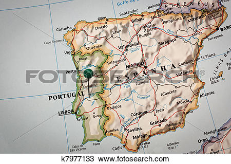 Stock Photo of Iberian peninsula Map k7977133.