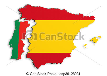 Stock Illustration of Iberian Peninsula map.