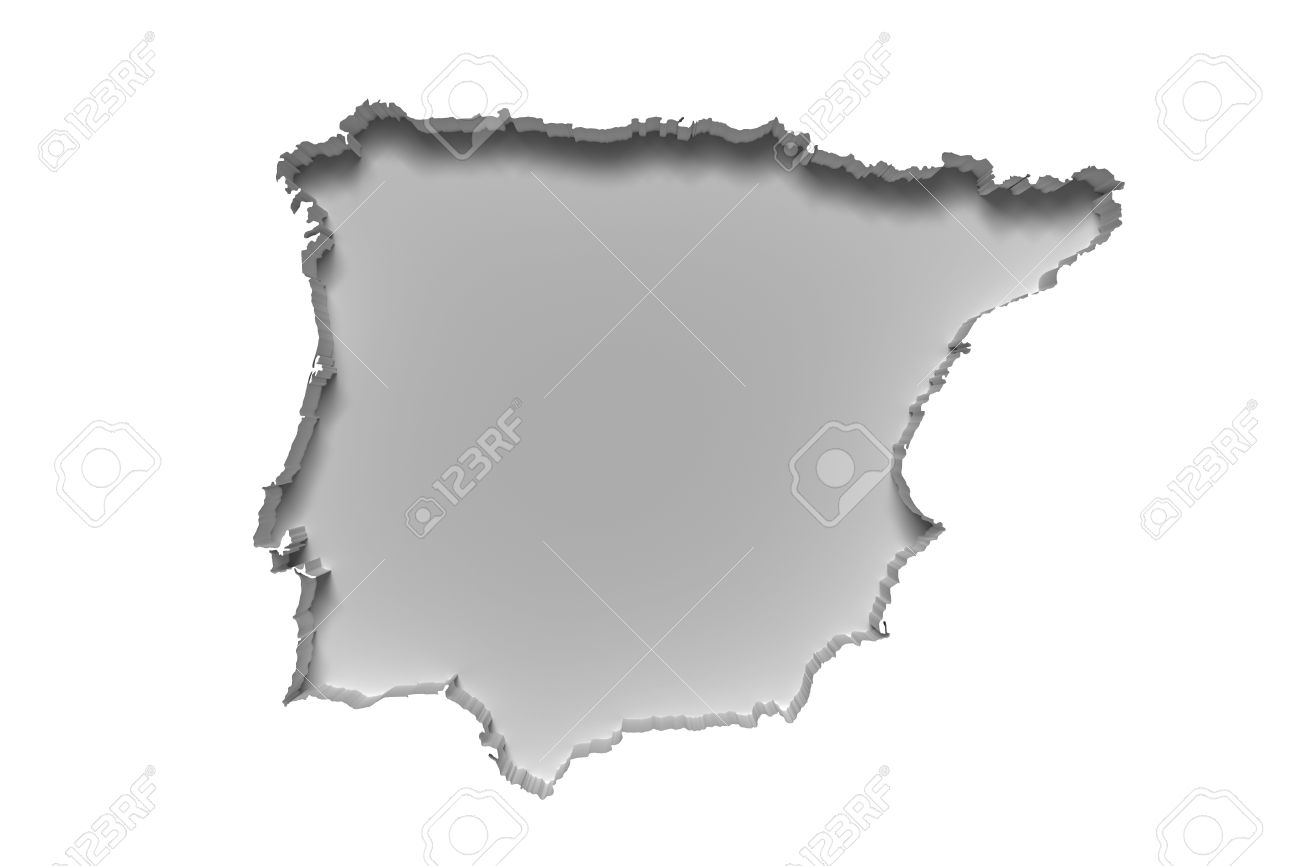 3d Rendering Of Silhouette Of White Iberian Peninsula Map In.