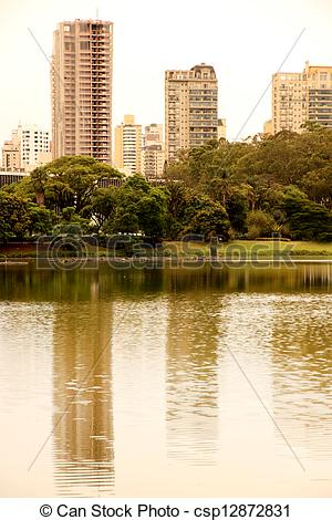 Stock Photos of Reflections in the Ibirapuera Park in Sao Paulo.
