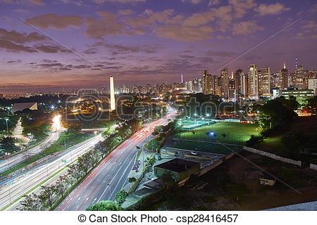 Stock Images of Sao Paulo city at nightfall, Brazil. Ibirapuera.