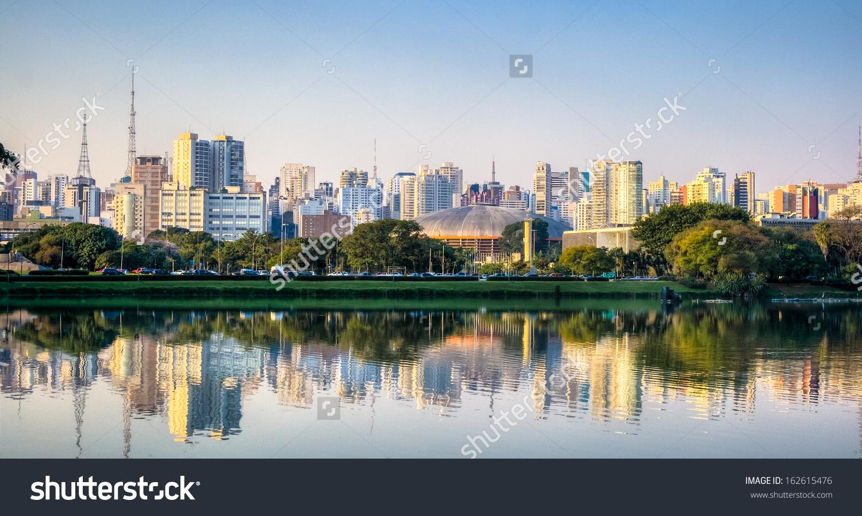 Ibirapuera Park Skyline Sao Paulo Brazil Stock Photo 162615476.