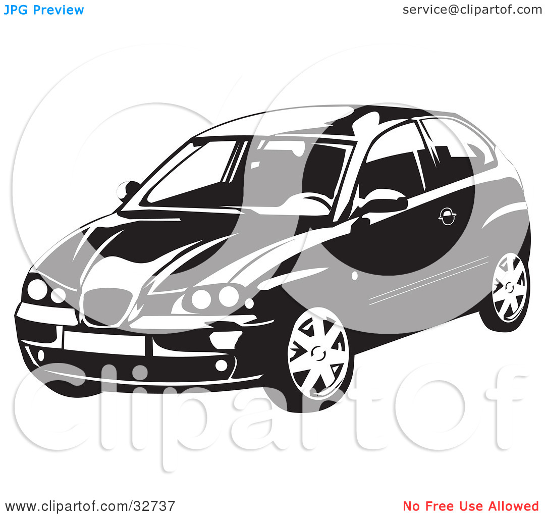 Clipart Illustration of a Black And White SEAT Ibiza Car by David.