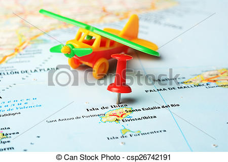 Stock Photographs of Ibiza Island ,Spain map airplane.