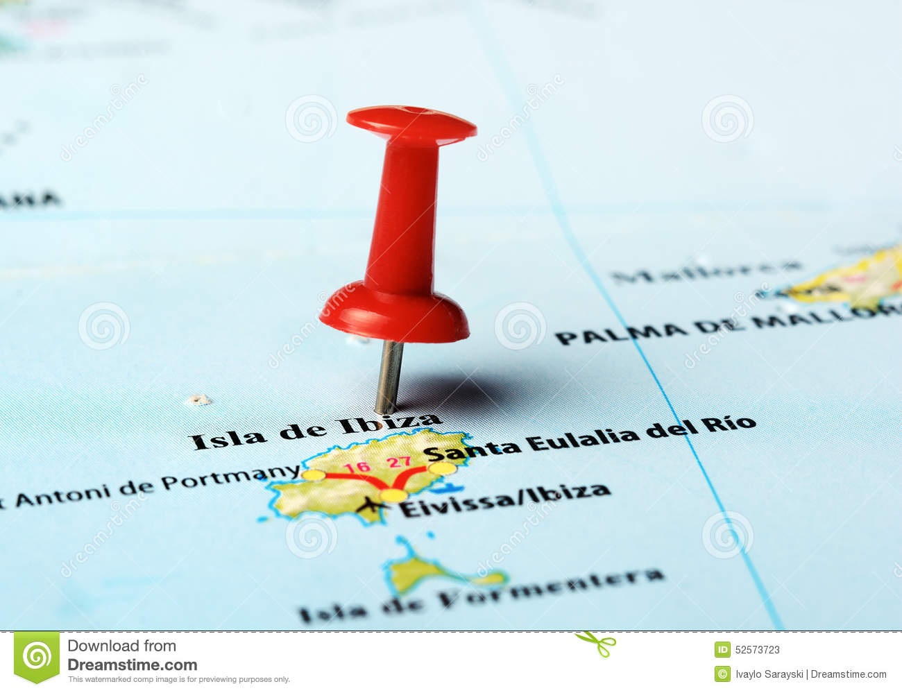 Ibiza Island ,Spain Map Stock Photo.