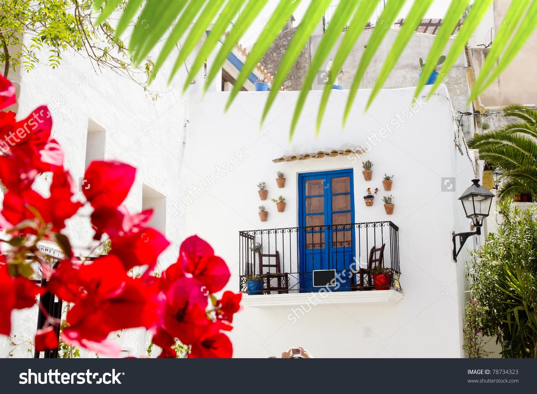 Ibiza White Island Architecture Corner Bougainvilleas Flowers.