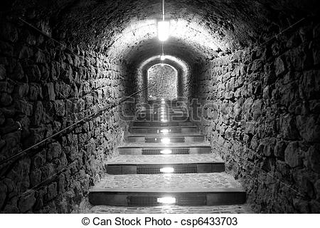 Stock Photos of Ibiza island tunnel way up to the castle light.