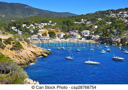 Stock Images of Cala Vedella beach in Sant Josep de Sa Talaia, in.