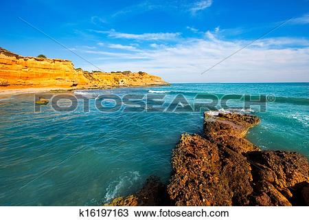 Stock Photo of Ibiza island Platja Es bol Nou beach Ses Salines.