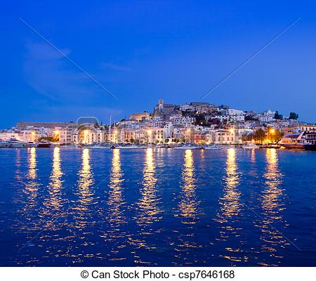 Pictures of Ibiza island night view of Eivissa town and sea lights.