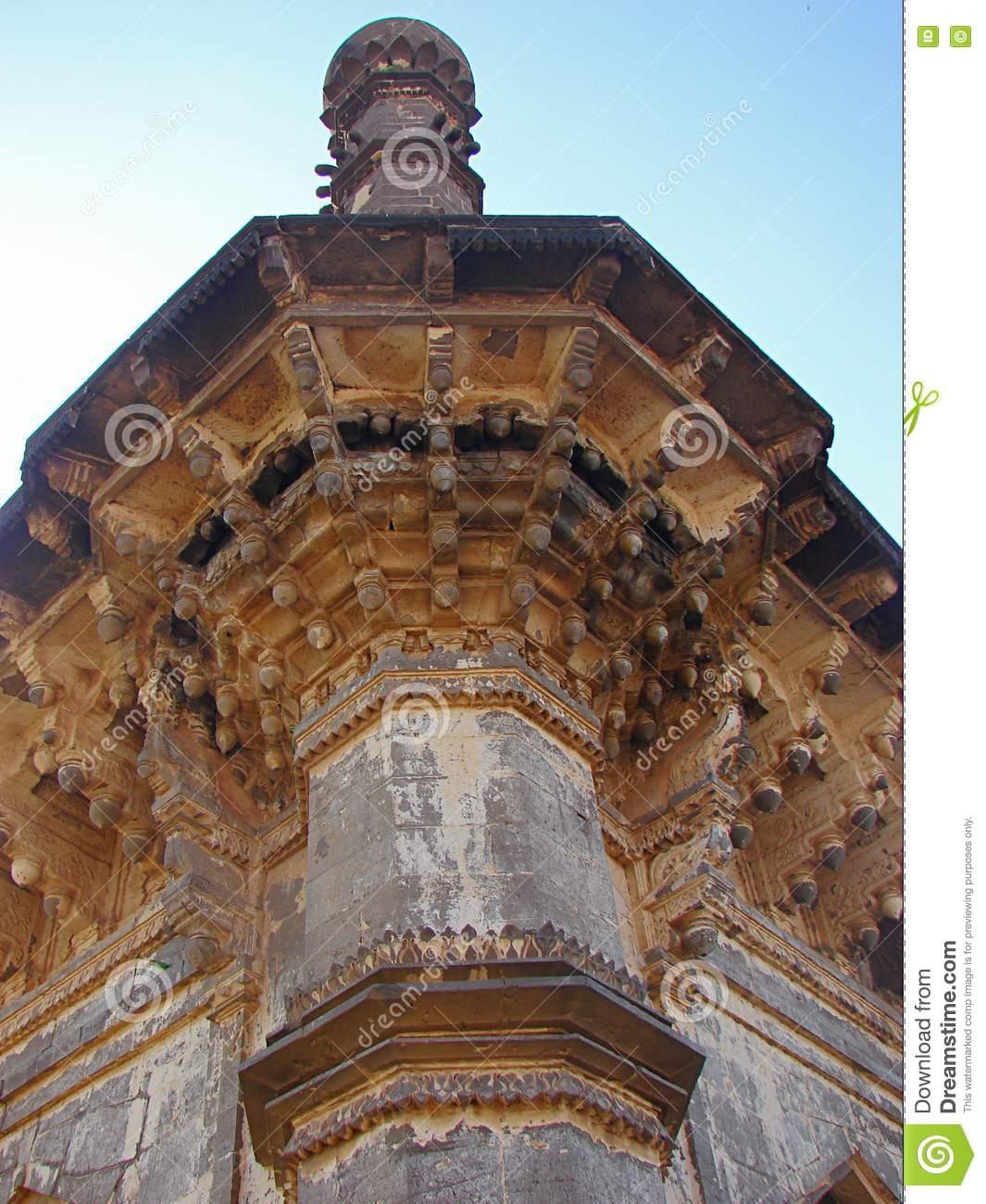 A Minaret Of Ibrahim Roza, Bijapur Stock Photo.