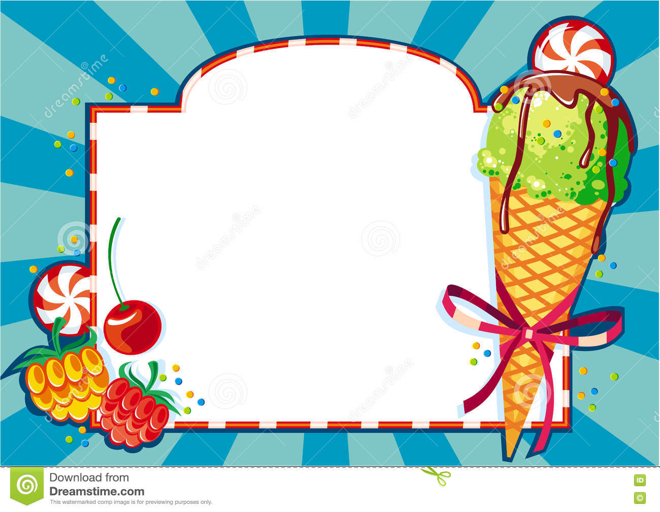 Color Background With Ice Cream And Berries. Stock Illustration.