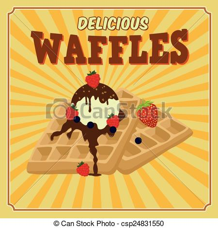 Clipart Vector of Waffles with chocolate, ice cream and berries.